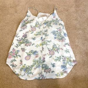 Loft white and floral racerback cami. NWT
